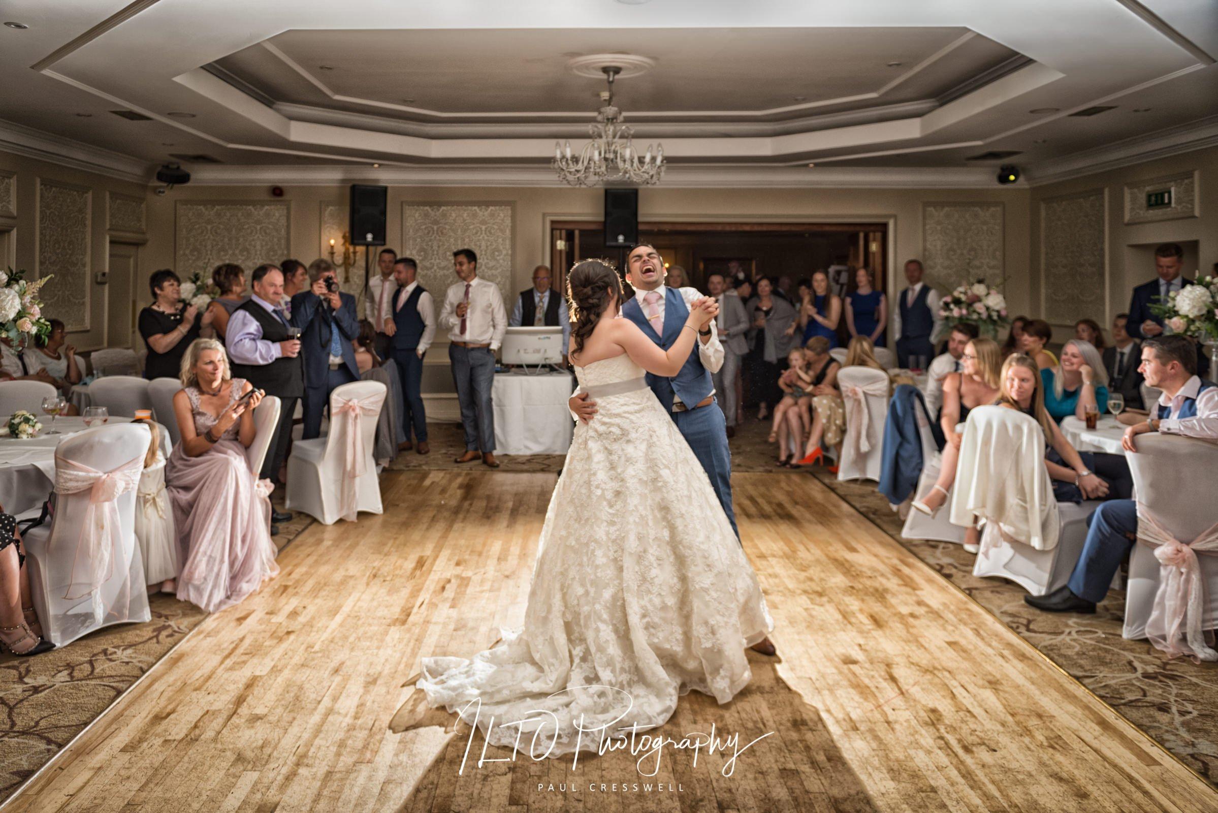 Funny wedding photos first dance wentbridge house hotel