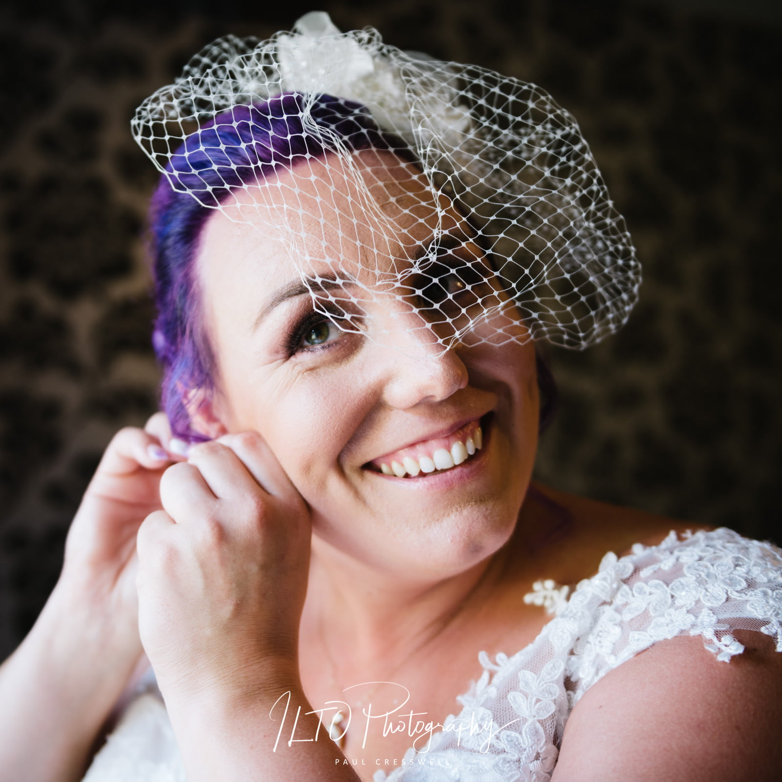 creative wedding photographer, purple hair bride