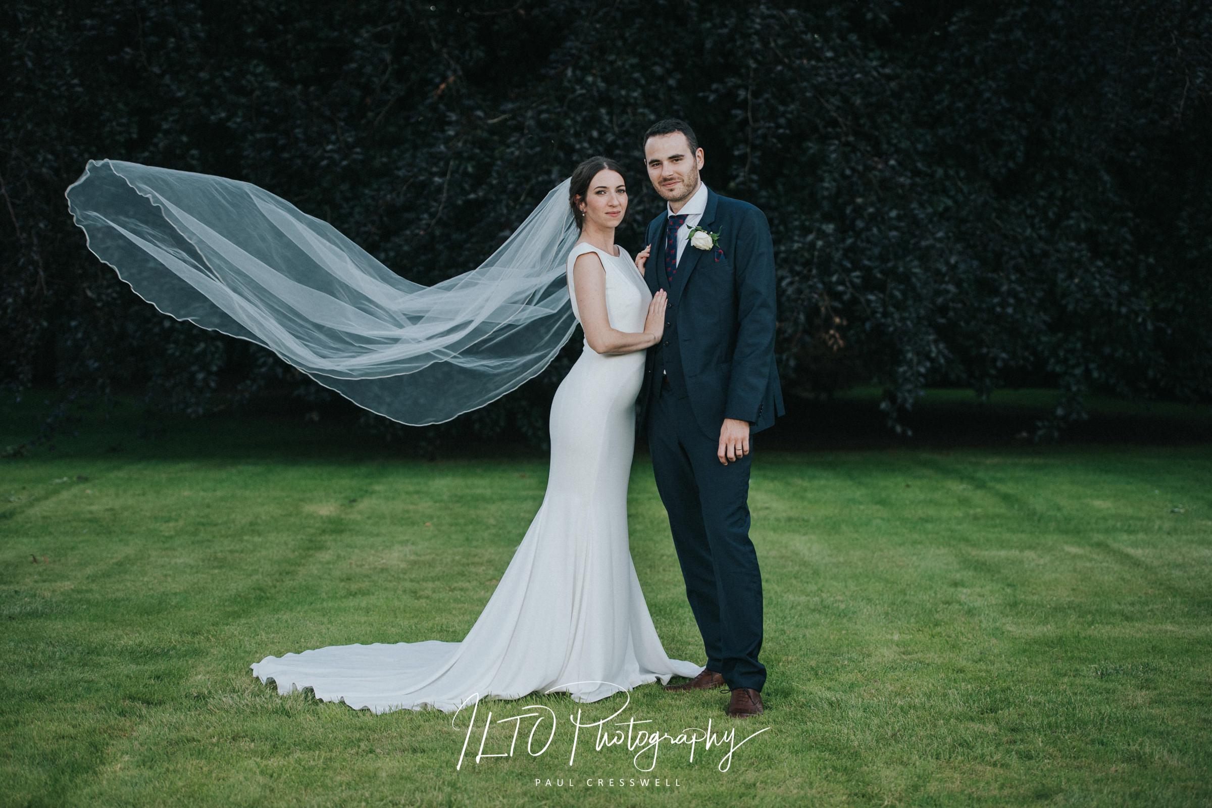 Wedding Portfolio images, Veil toss bride and groom York wedding