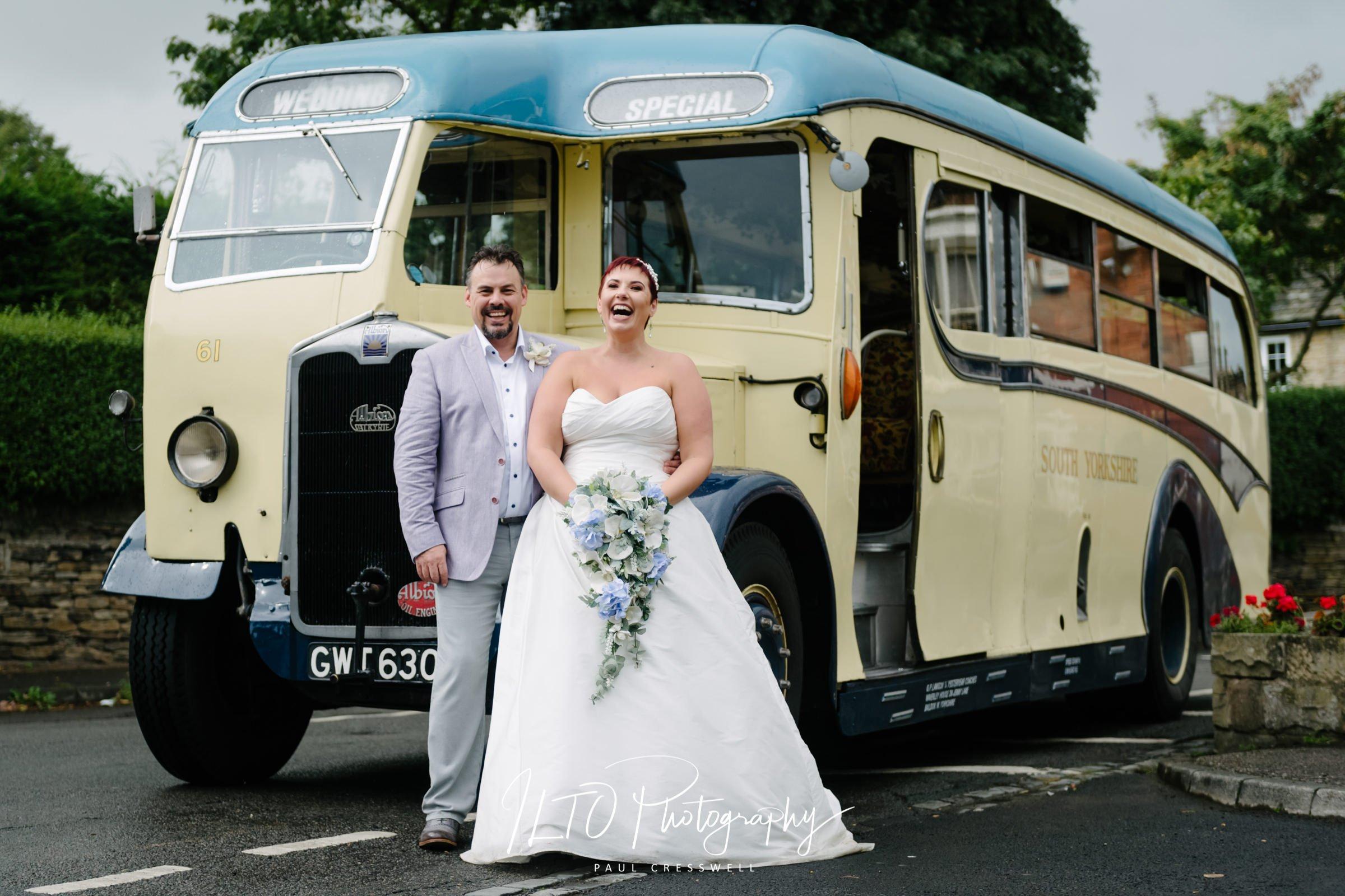 Wedding Portfolio, vintage bus, Yorkshire wedding
