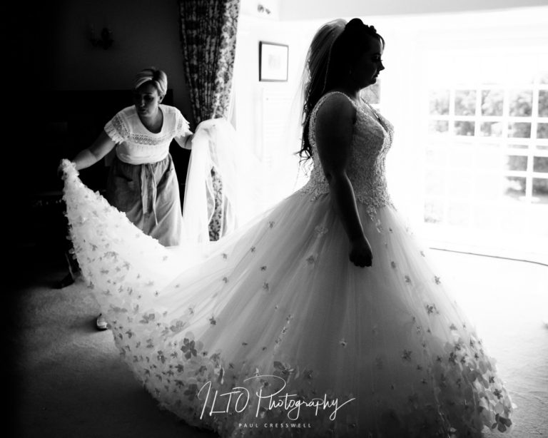 Black and white wedding dress photography ideas, yorkshire based wedding photographer
