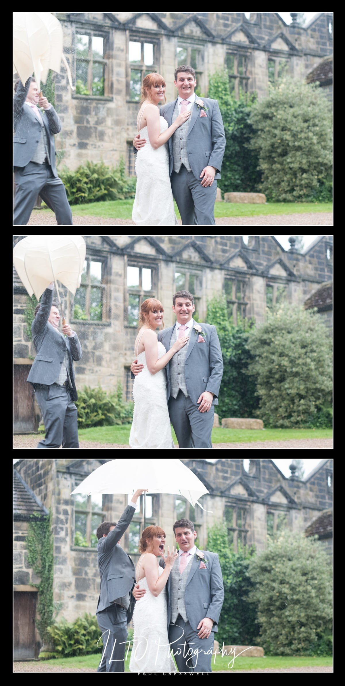 Funny wedding photography, wet wedding, riddlesden Hall, national trust wedding venue