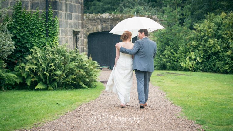 Wedding umbrella, yorkshire wedding photographer, riddlesden hall