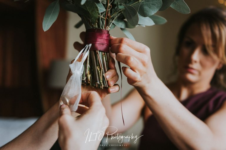 Personalised bridal bouquet Yorkshire wedding photographer ILTO Photography