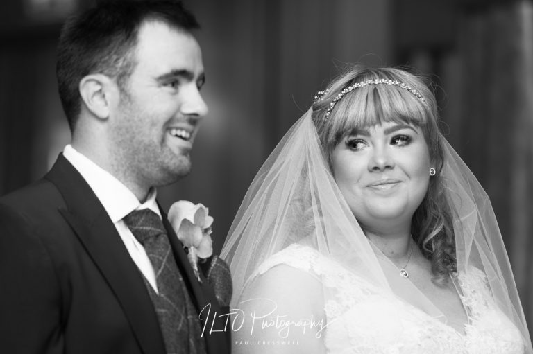 Black and white wedding photography Oulton Hall