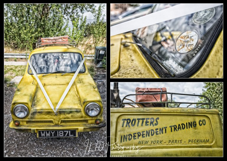 Wedding Car Ideas, Only Fools and Horses, 3 wheeler, robin reliant, Leeds Wedding Photographer, ILTO Photography