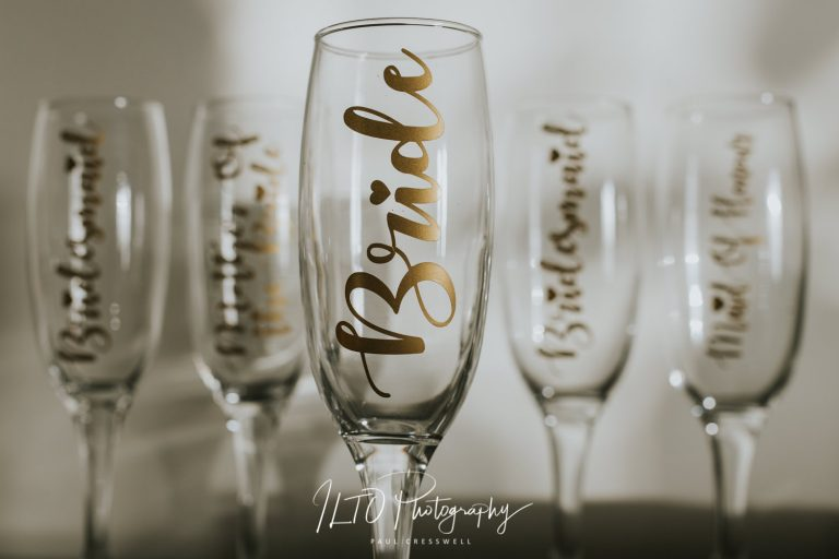 Personalised wedding glasses bride and bridesmaid
