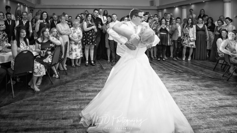 Wedding photographer wets yorkshire first dance black and white
