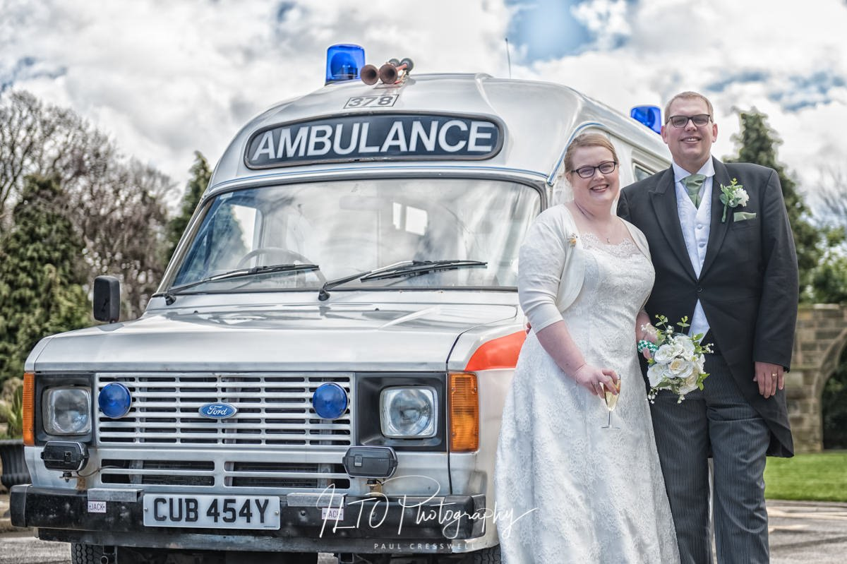 Alternative wedding cars Ambulance bride groom original wedding photography