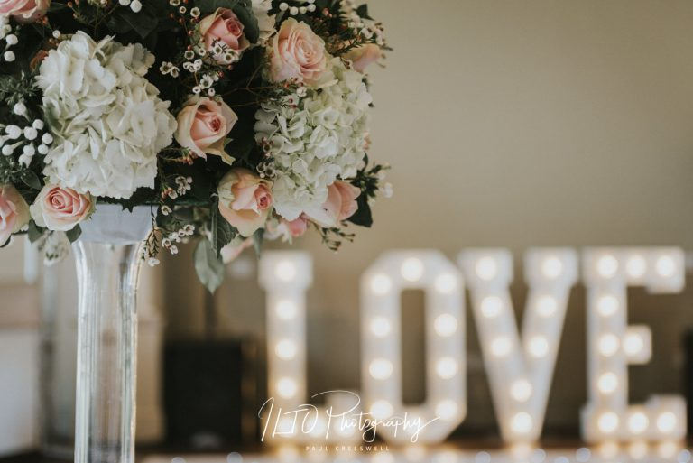 Wedding breakfast decoration ideas Love sign